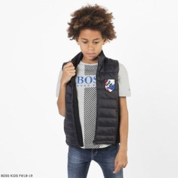 BOSS Boys Grey Check Racer T-Shirt & Black Vest