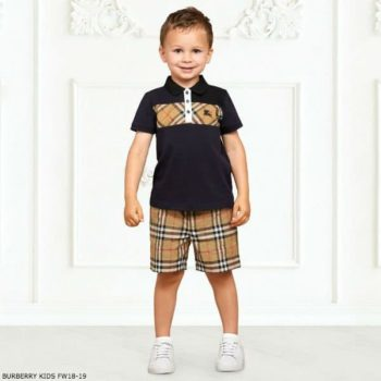 BURBERRY Boys Blue JEFF Polo Shirt & Vintage Shorts