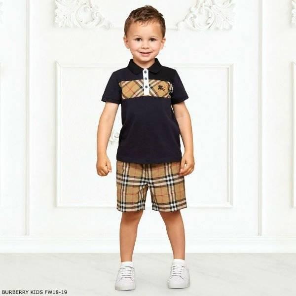 BURBERRY Boys Blue JEFF Polo Shirt & Vintage Shorts