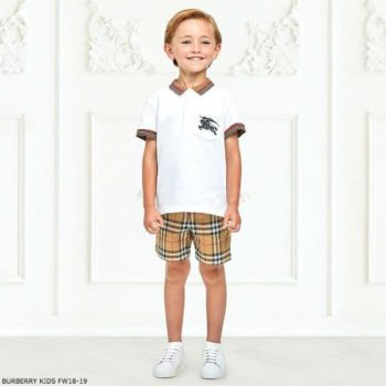 BURBERRY Boys White NOEL Polo Shirt Vintage Check Shorts