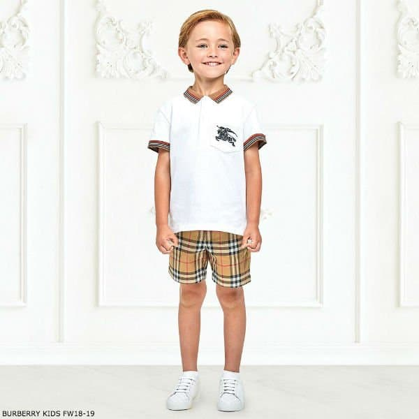 BURBERRY Boys White NOEL Polo Shirt Vintage Check Shorts