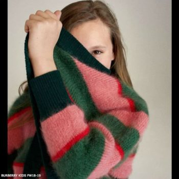 BURBERRY Girl JAMILA Pink Green Striped Wool Cardigan Sweater