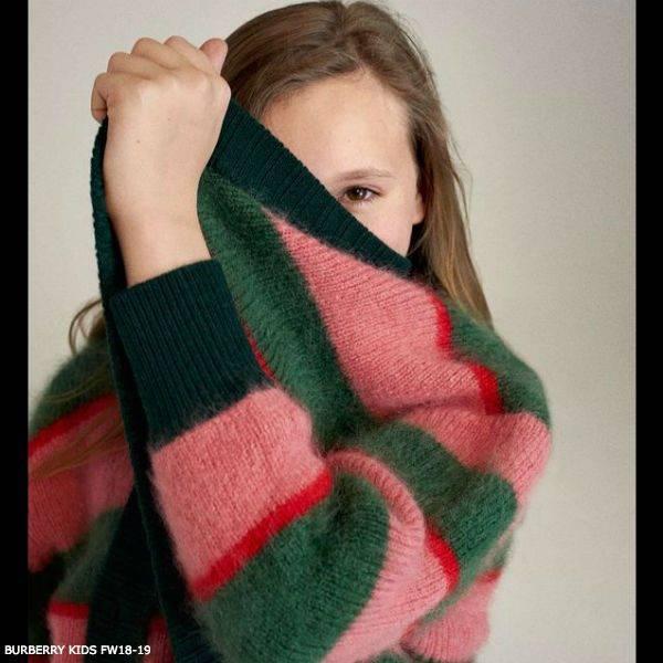 BURBERRY Girl JAMILA Pink Green Striped Wool Cardigan Sweater