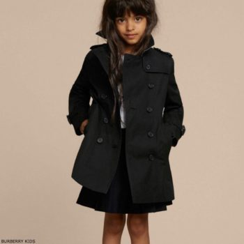 BURBERRY Girls Mini Me Black Sandringham Trench Coat