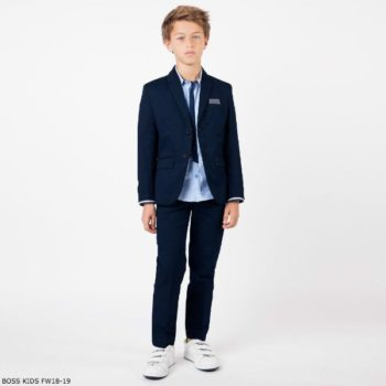 Boss Boys Navy Blue Suit Jacket & Oxford Shirt