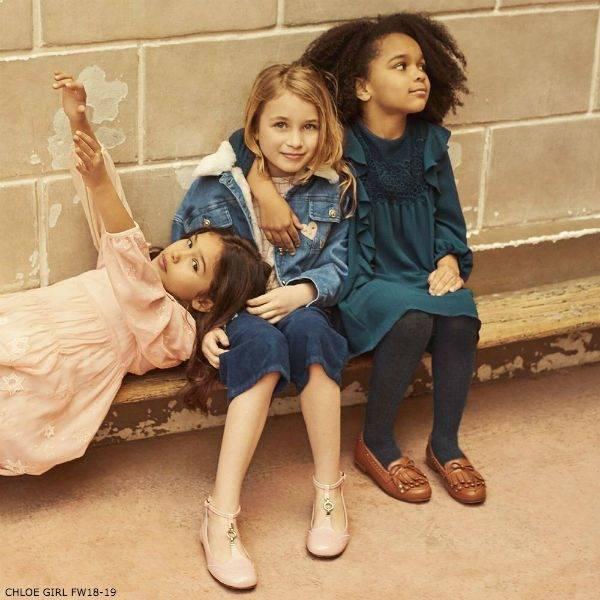 CHLOÉ Girls Mini Me Blue Couture Dress