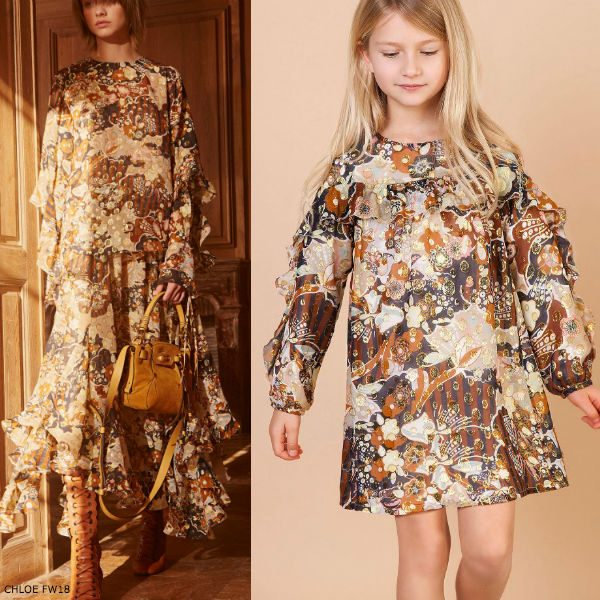 CHLOÉ Girls Mini Me Gold & Beige Silk Dress