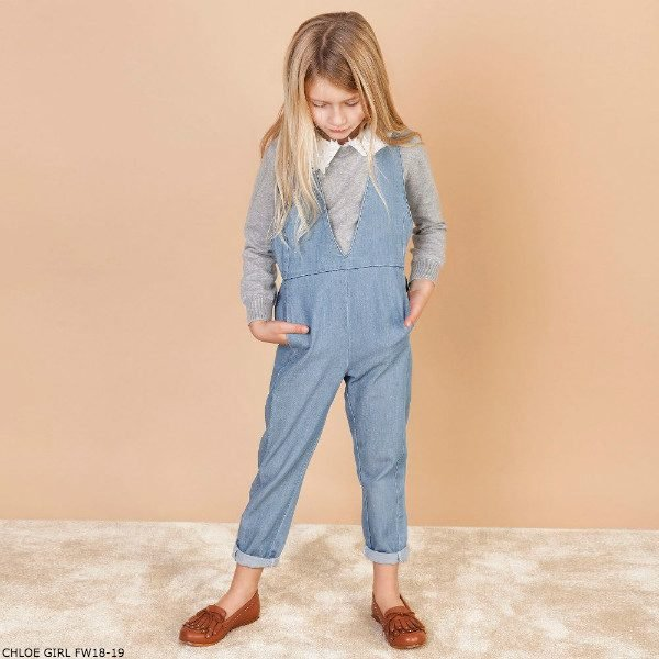 CHLOE Girls Blue Denim Overalls Grey Sweater
