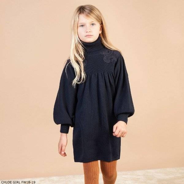 Sentence puff Rendition  CHLOE Girls Mini ME Navy Blue Knitted Sweater Dress