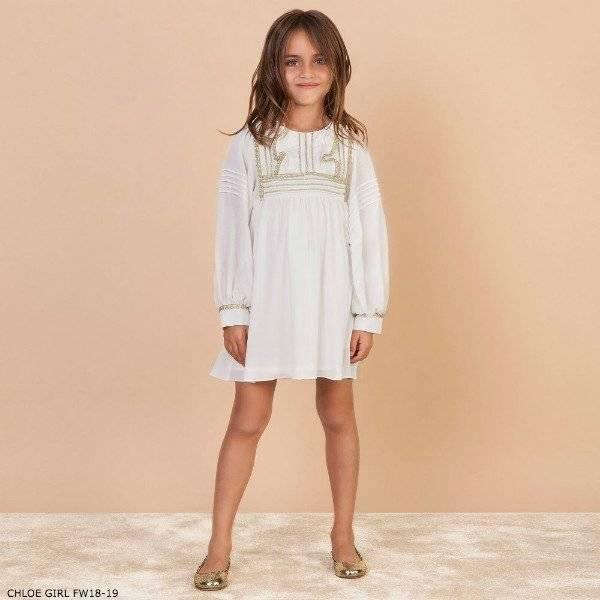 CHLOE Girls Mini Me Ivory Crepe Dress