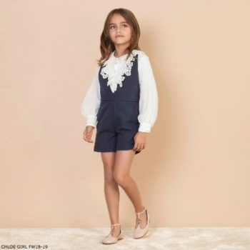 CHLOE Girls Mini Me Navy Blue Playsuit Ivory Silk Blouse