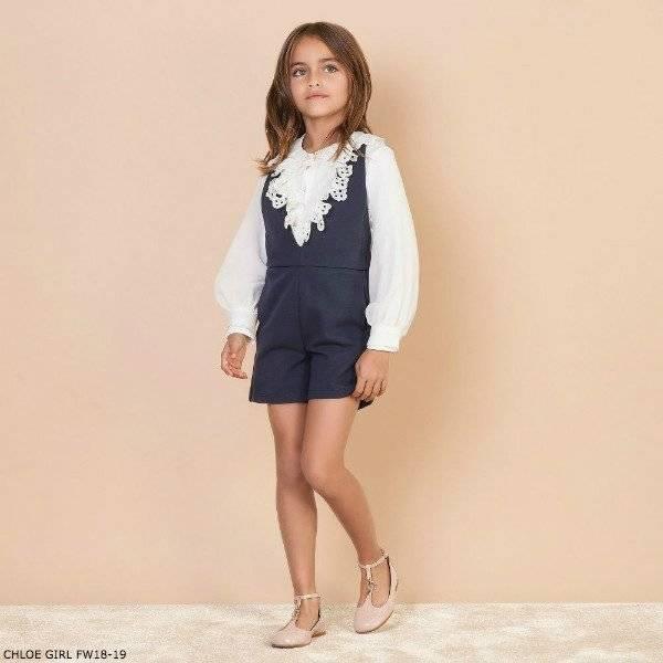 CHLOE Girls Mini Me Navy Blue Playsuit Ivory Silk Blouse