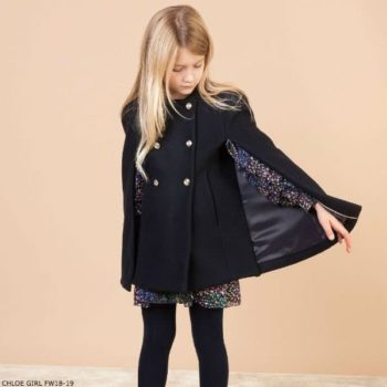 CHLOE Girls Mini Me Navy Blue Wool Cape