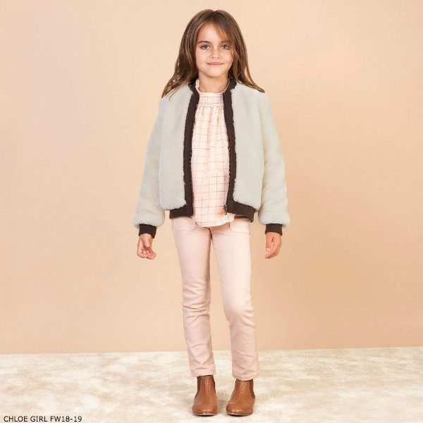 CHLOE Girls Plush Fur Bomber Jacket & Pink Check Crepe Blouse