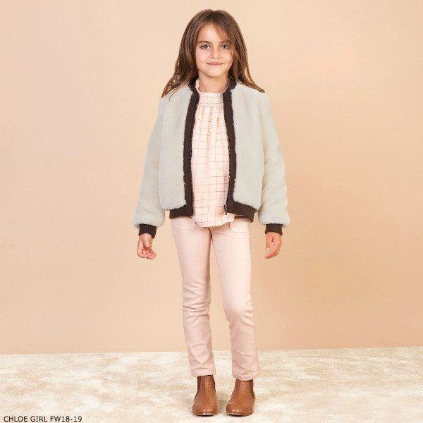 CHLOE Girls Plush Fur Bomber Jacket & Pink Check Crepe Blouse