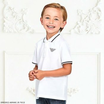 EMPORIO ARMANI Boys Blue Cotton Shorts & White Polo Set