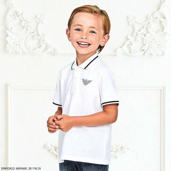 EMPORIO ARMANI Boys Blue Cotton Shorts & White Polo Set
