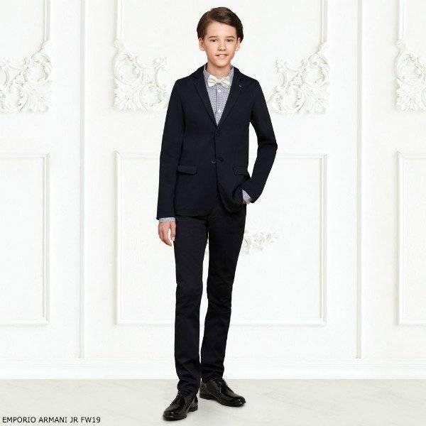 EMPORIO ARMANI Boys Navy Blue Cotton Suit Check Shirt