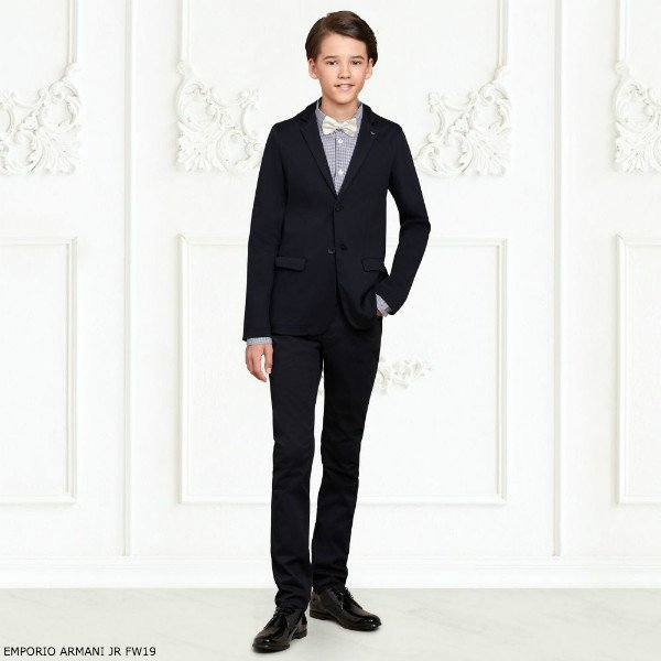 EMPORIO ARMANI BOYS NAVY BLUE COTTON SUIT & CHECK SHIRT