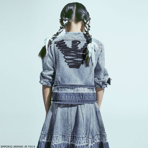 EMPORIO ARMANI Girls Blue Denim Logo Jacket & Skirt