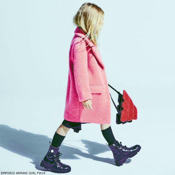 EMPORIO ARMANI Girls Mini-Me Pink Wool Coat
