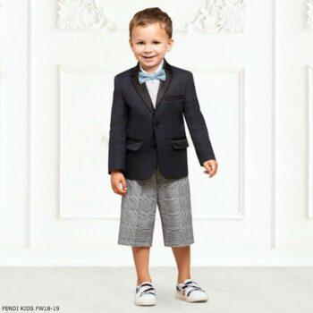 FENDI Boys Navy Blue Jacket Grey Houndstooth Check Shorts