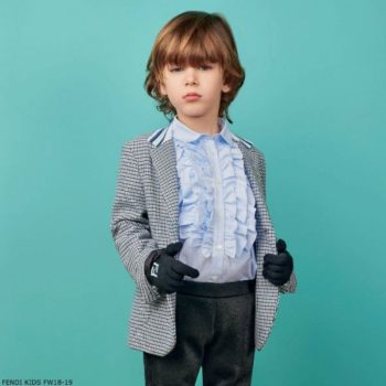 FENDI Boys Blue White Check Blazer Blue Cotton Ruffle Front Shirt