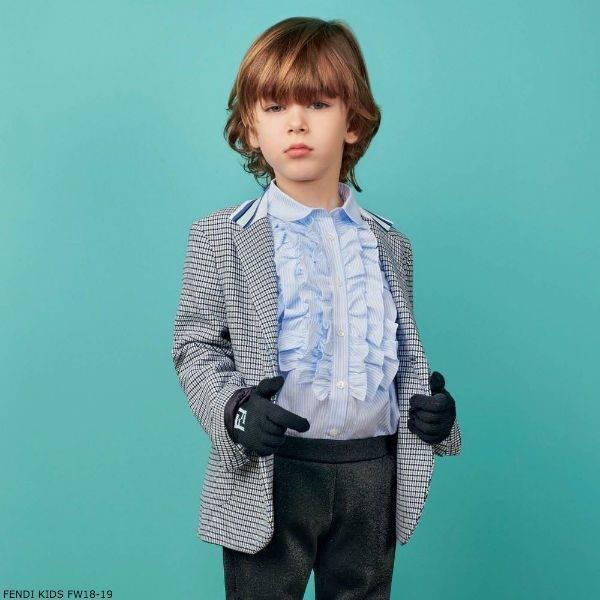 FENDI Boys Blue White Check Blazer Blue Cotton Ruffle Front Shirt