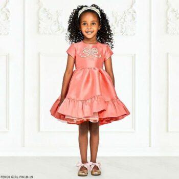 FENDI Girl Salmon Pink Silk Blend Dress