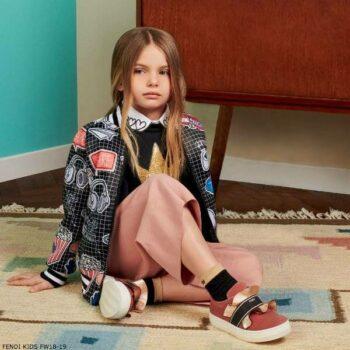 FENDI Girls Emoji Print Bomber Jacket Pink Crepe Culottes