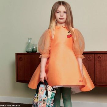 FENDI Girls Peachy Orange Silk Blend Dress