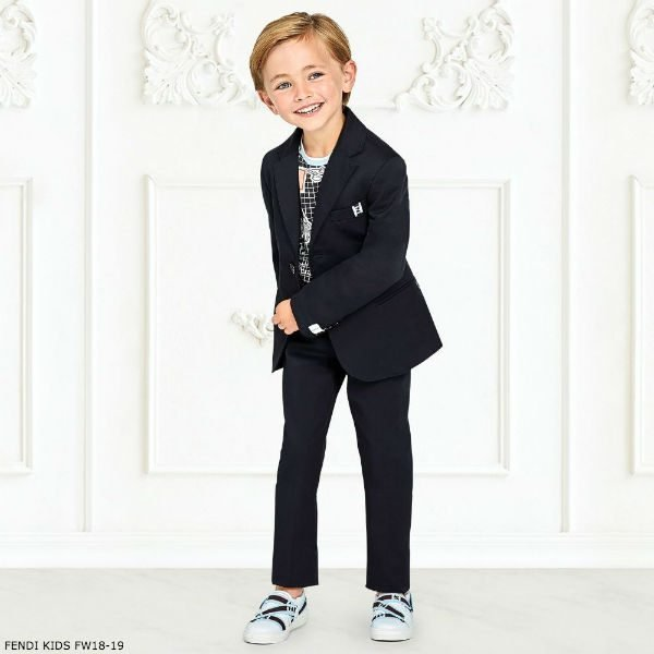 FENDI KIDS NAVY Blue Suit \u0026 Black Emoji T,Shirt