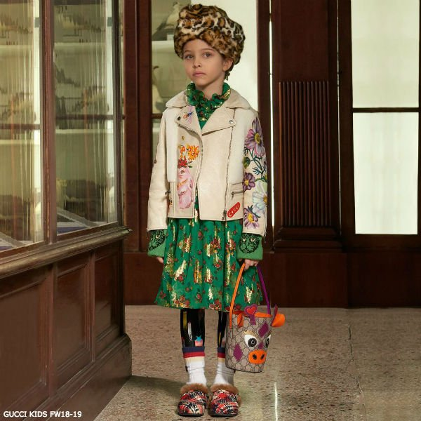 GUCCI Girls Green Floral Pint Silk Dress