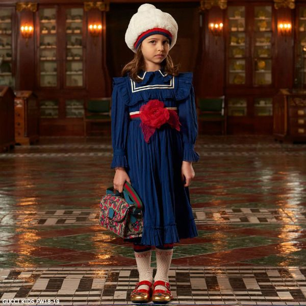 Gucci Girls Royal Blue Dress Red Silk Flower
