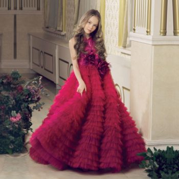 JUNONA Burgundy Pink Tulle Rose Party Dress