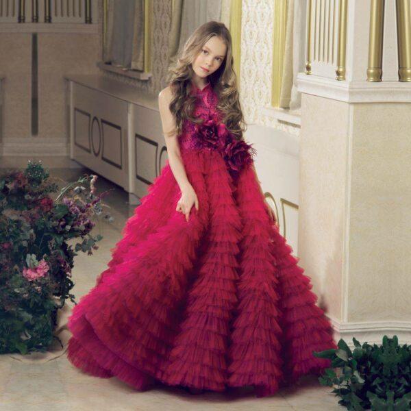 JUNONA Burgundy Pink Tulle Rose Party Dress