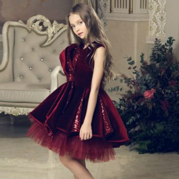 JUNONA Burgundy Velvet Party Dress & Bag