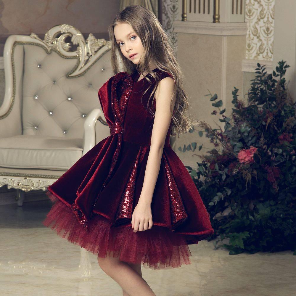 JUNONA Burgundy Velvet Party Dress & Bag