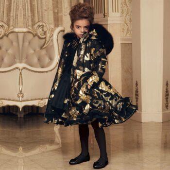JUNONA Girls Black Gold Down Padded Coat