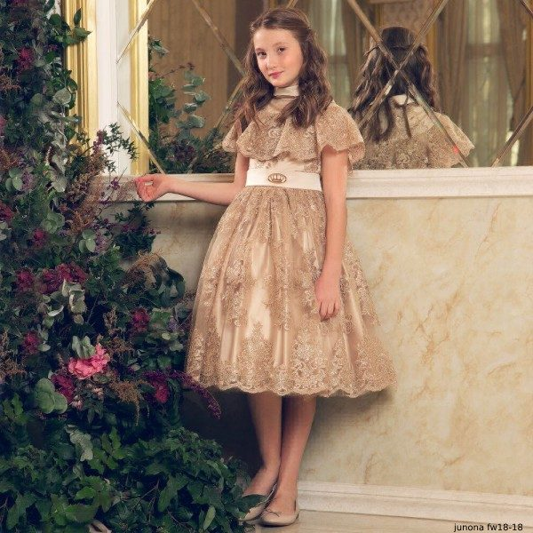 JUNONA Girls Gold Lace Party Dress & Bag (1)