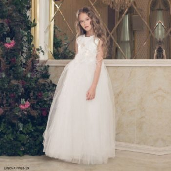 JUNONA Girls White Tulle Dress FW18-19 (1)