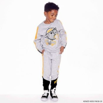 KENZO KIDS Boys Grey Skater Prnt Cotton Sweatshirt Sweatpants