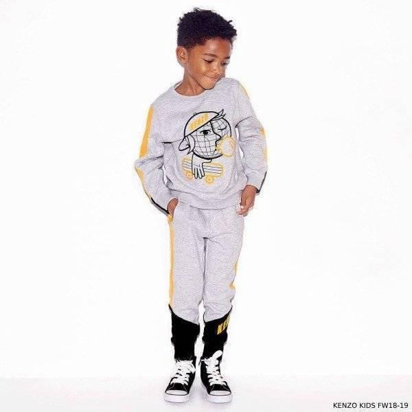 KENZO KIDS Boys Grey Skater Prnt Cotton Sweatshirt Sweatpants