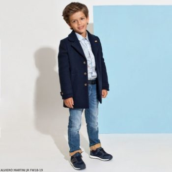 ALVIERO MARTINI Boys Blue Geo Map Shirt & Blue Jeans