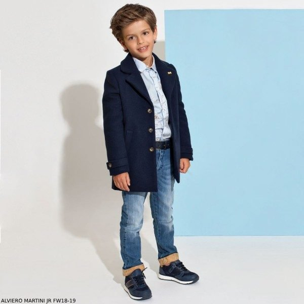 ALVIERO MARTINI Boys Blue Geo Map Shirt & Blue Jeans