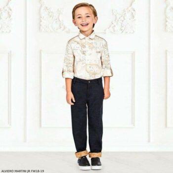 ALVIERO MARTINI Boys White Cotton Geo Map Shirt & Navy Chino Pants