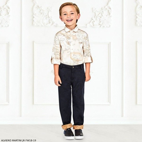 ALVIERO MARTINI Boys White Cotton Geo Map Shirt & Navy Chino Pants
