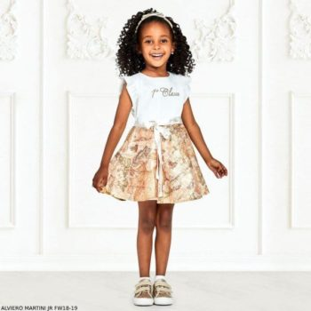 ALVIERO MARTINI Girls Ivory Geo Map Dress