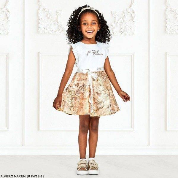 ALVIERO MARTINI Girls Ivory Geo Map Dress