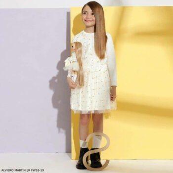 ALVIERO MARTINI White & Gold Dot Shirt Skirt